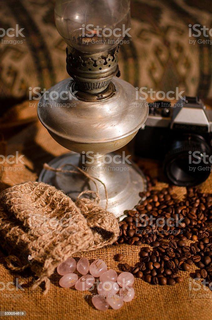 runes and coffee stock photo