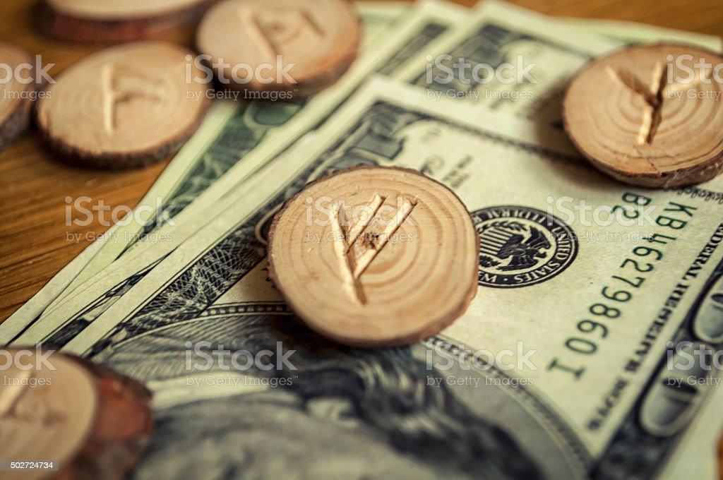 runes and money stock photo
