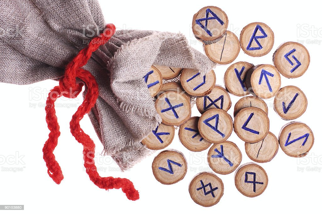 Runes and pouch isolated royalty-free stock photo