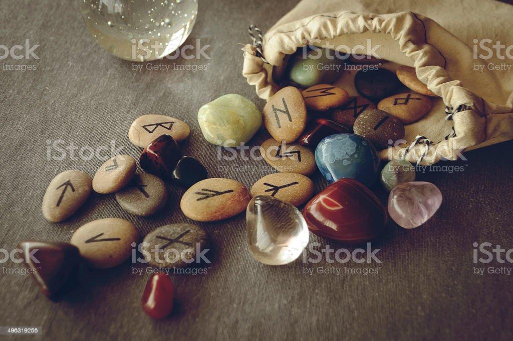 runes and tarot cards stock photo