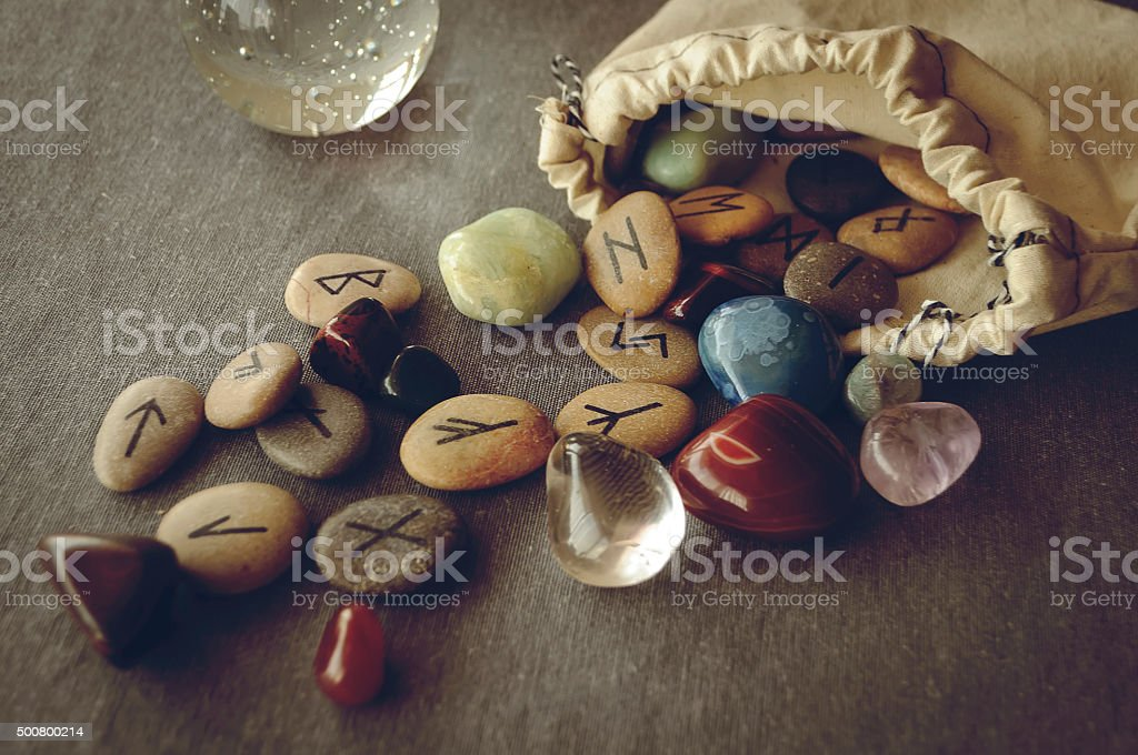 runes and tarot cards stock photo