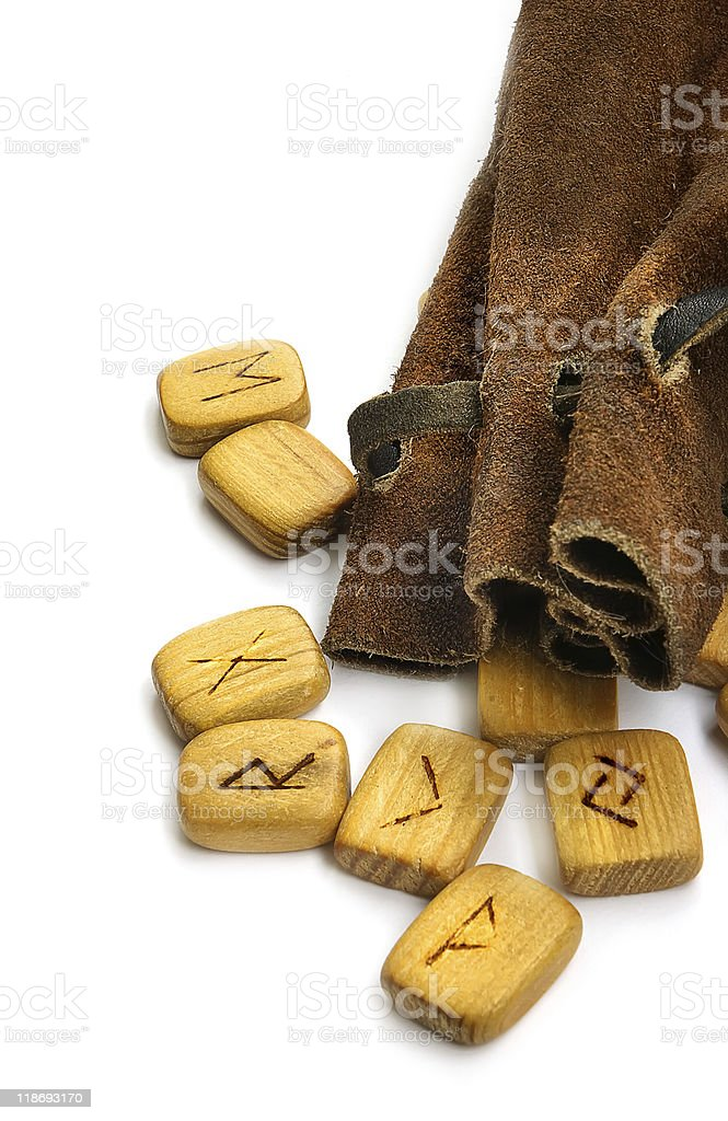Runes in leather sack stock photo