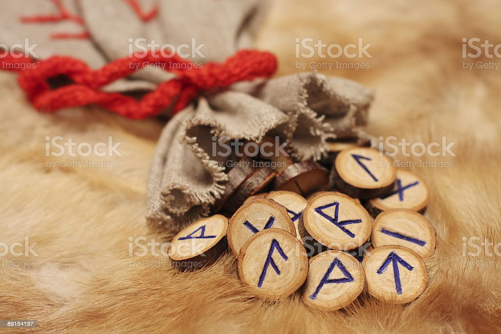 Runes with pouch stock photo