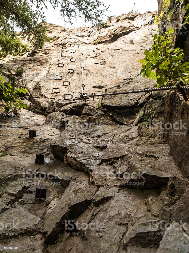 Rung steps on via ferrata stock photo