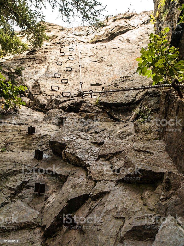 Rung steps on via ferrata stock photo
