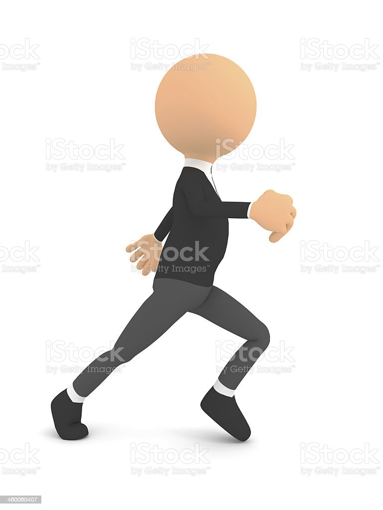 Runing man over white. 3d render stock photo