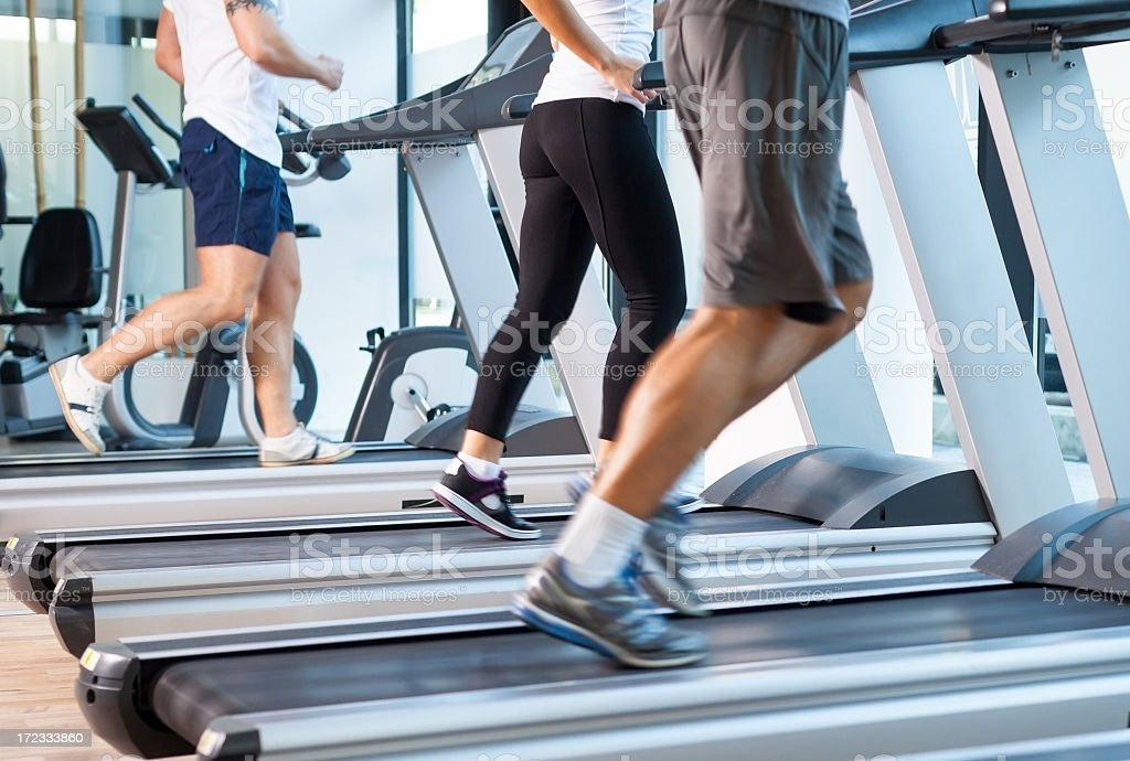 Runing on the treadmill royalty-free stock photo