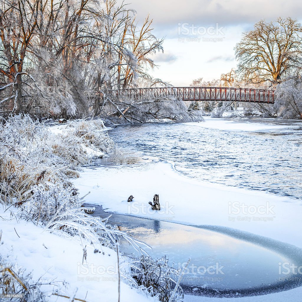 Runing river on frozen world royalty-free stock photo
