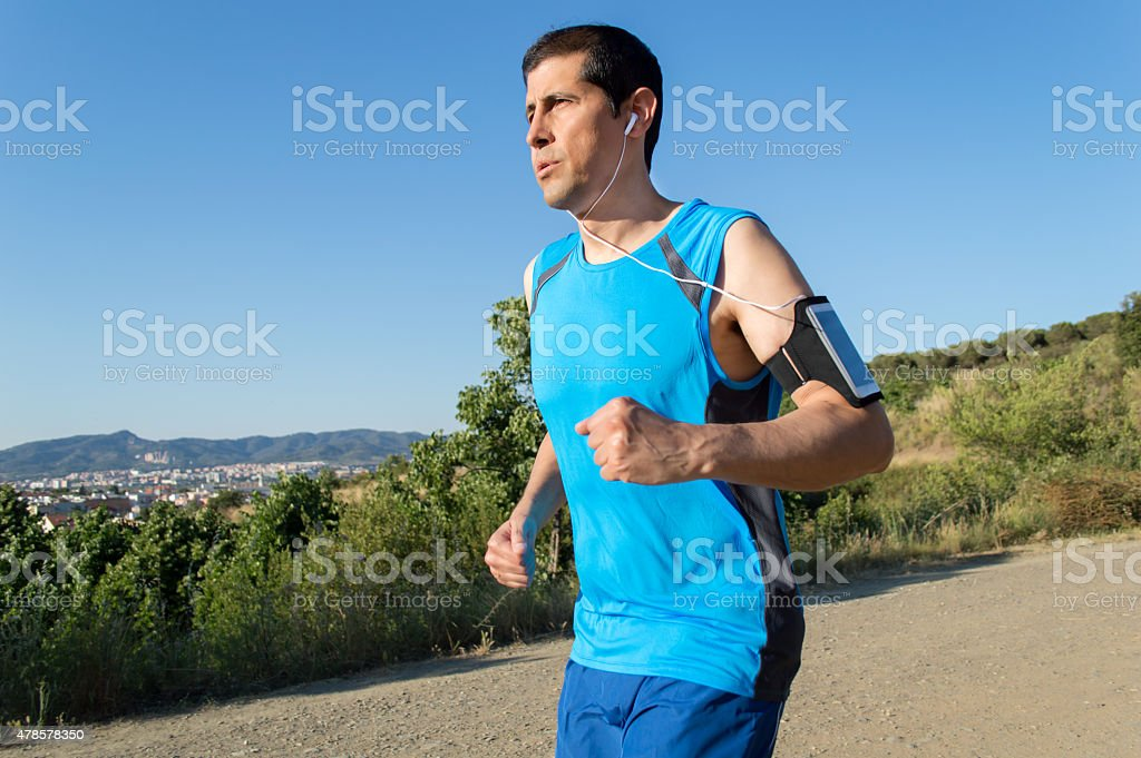 runing with music player stock photo