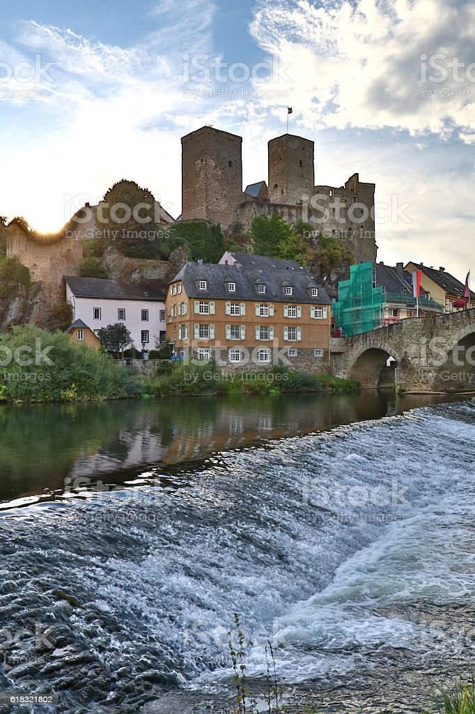Runkel and river Lahn stock photo