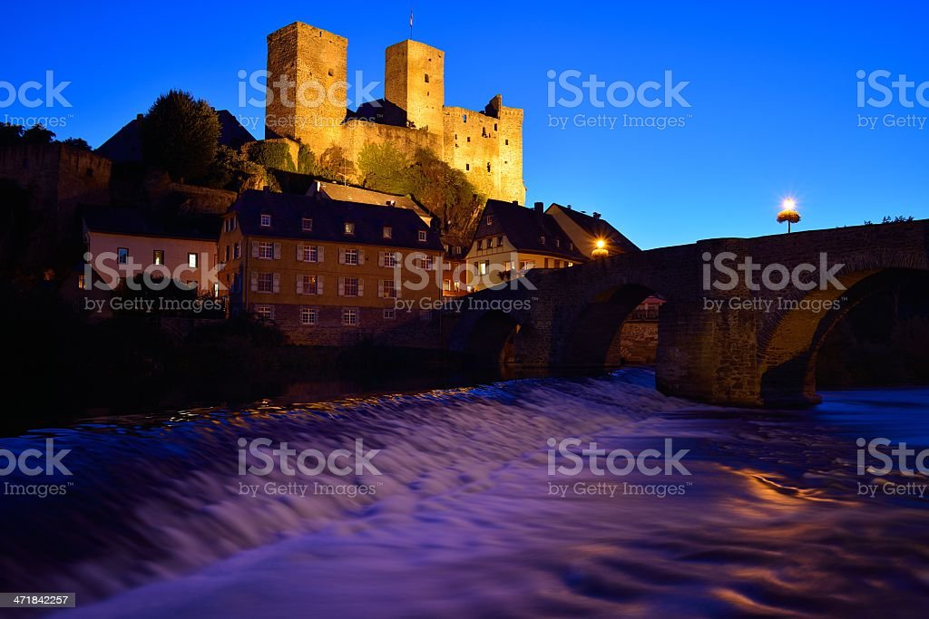 Runkel with castle, river and bridge royalty-free stock photo