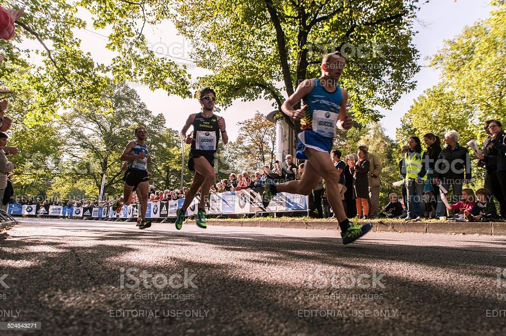 Runner at 41st BMW Berlin Marathon 2014 stock photo