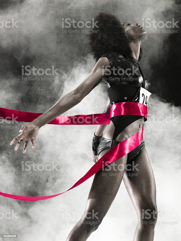 A runner at the finishing line royalty-free stock photo