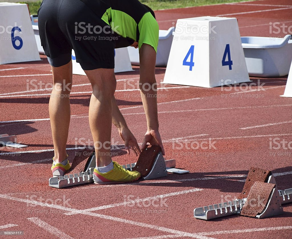 Runner at the starting line royalty-free stock photo