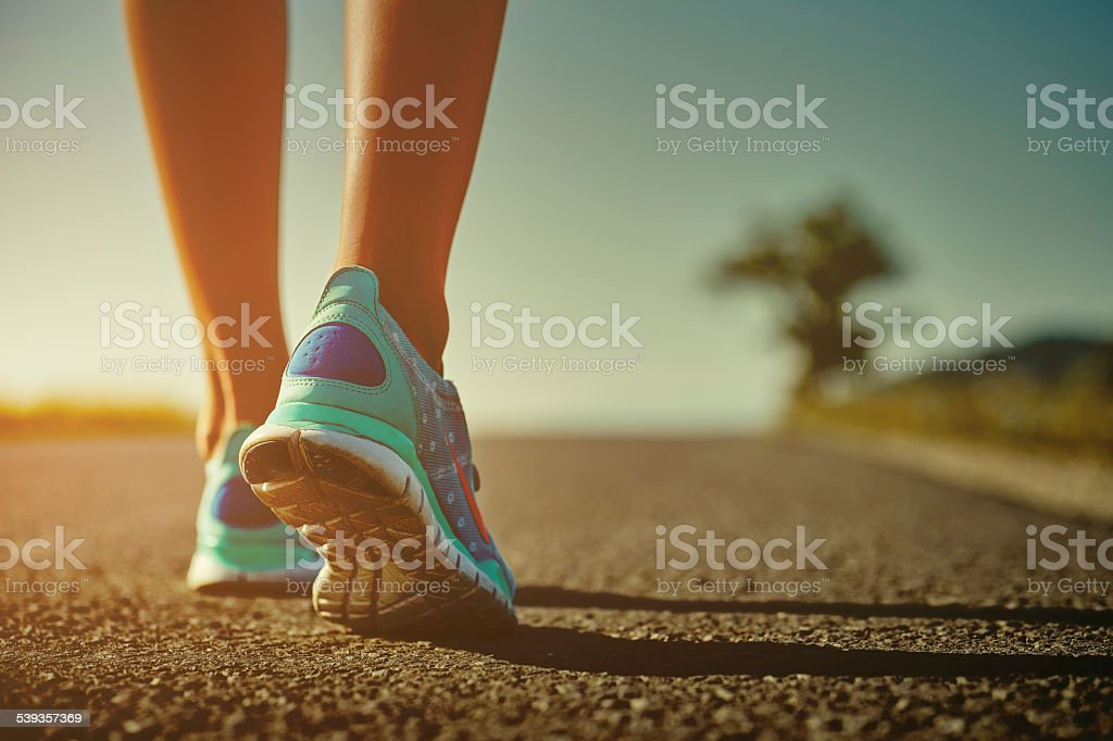 Runner feet and shoes stock photo