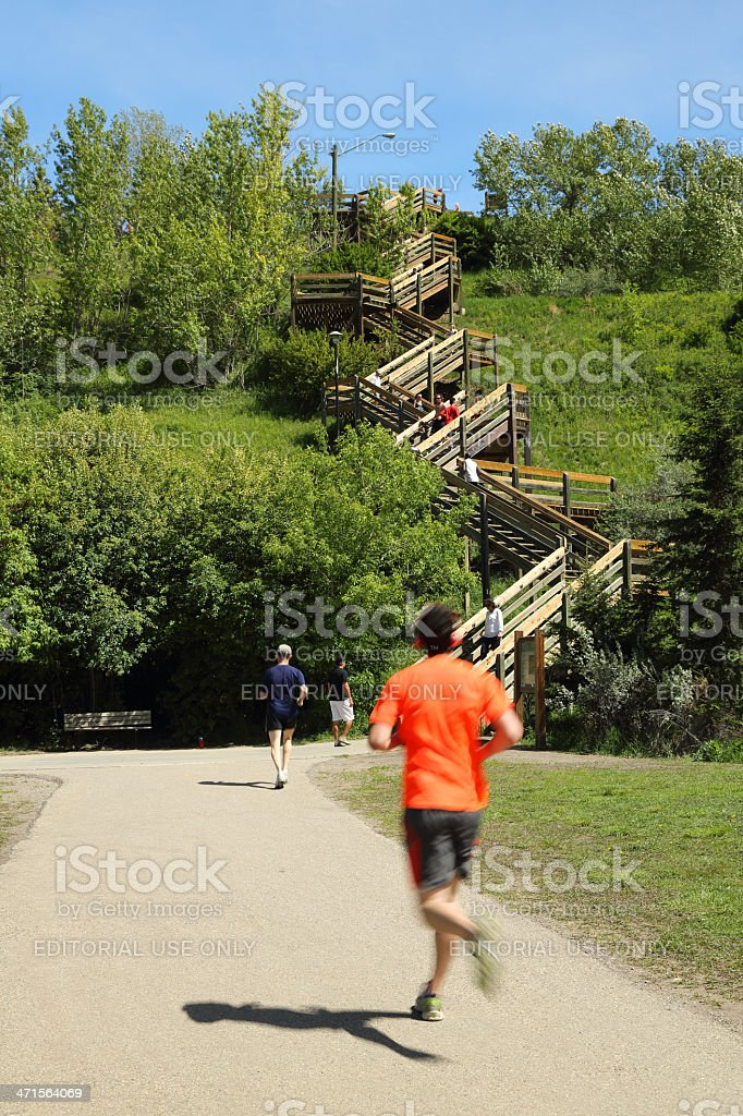 Runner Heading to The Stairs royalty-free stock photo