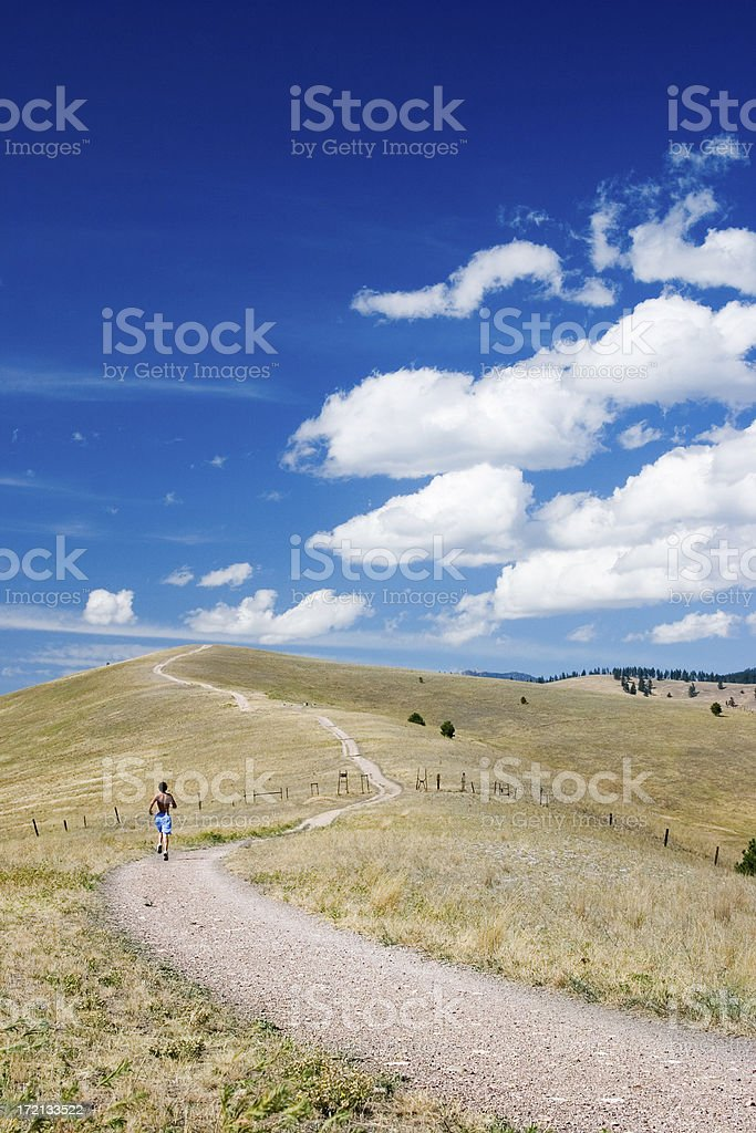 Runner in Big Sky Country stock photo