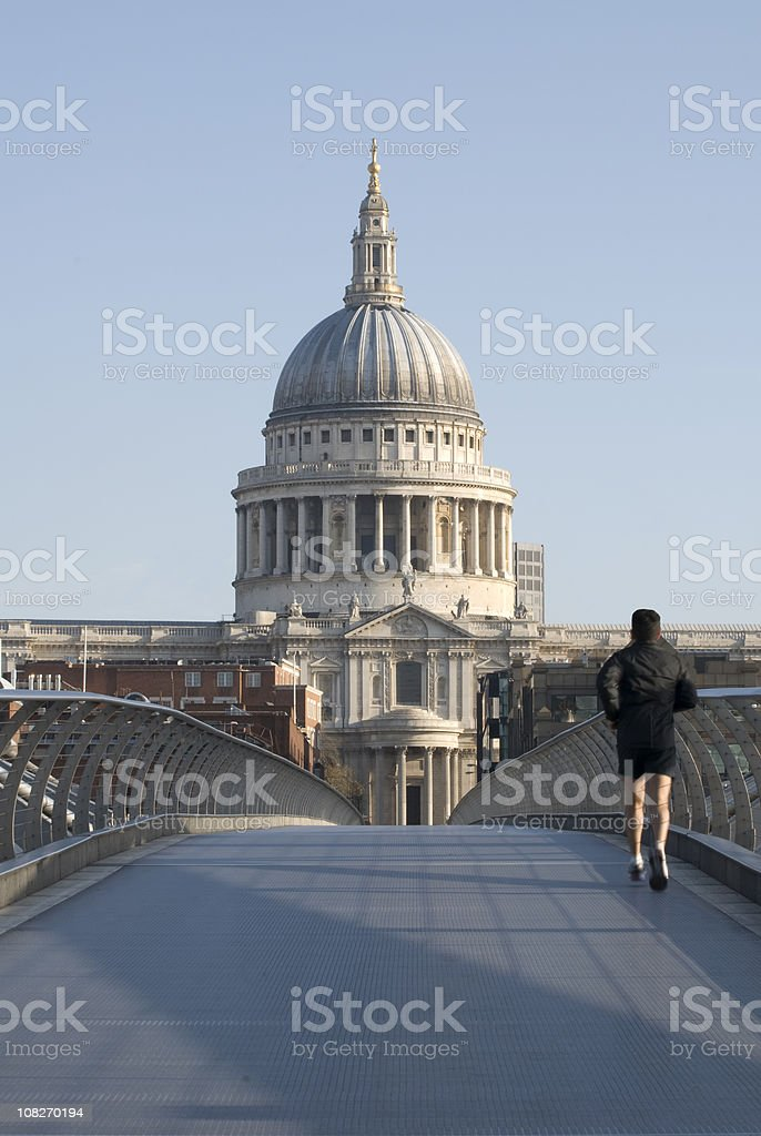 Runner in London, St. Paul's Cathedral, copy space (workout concept) royalty-free stock photo