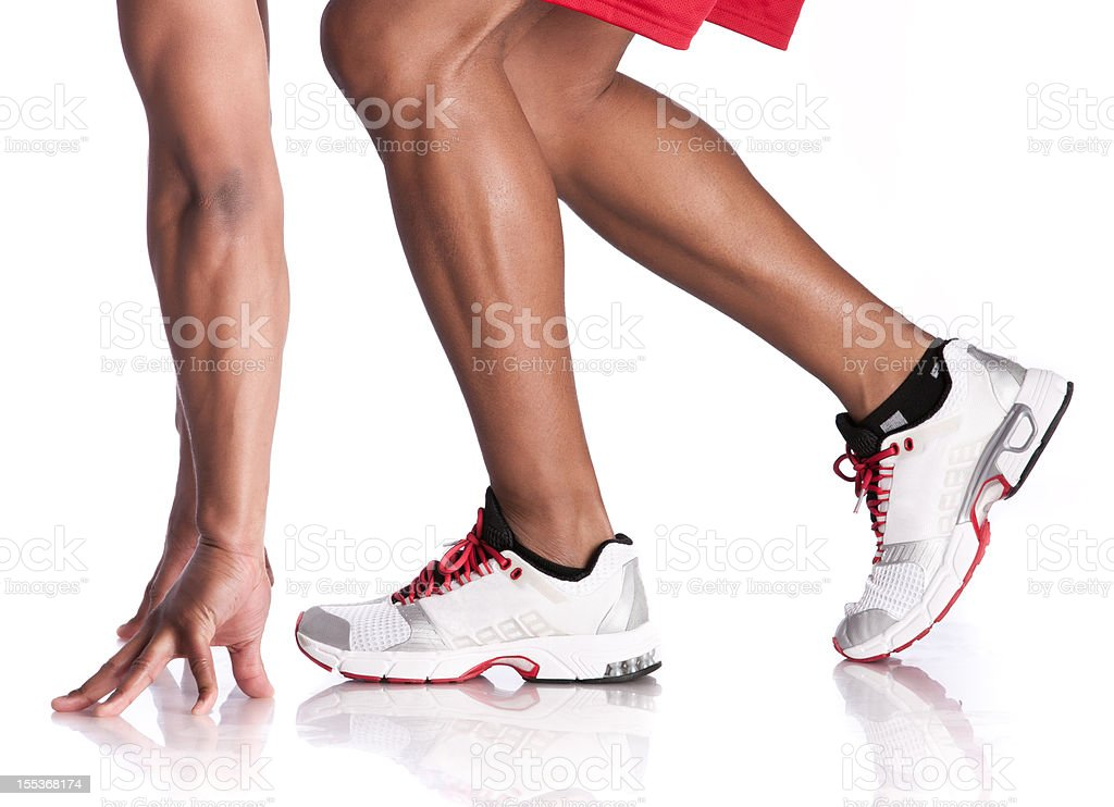 Runner in Starting Stance-Side View stock photo