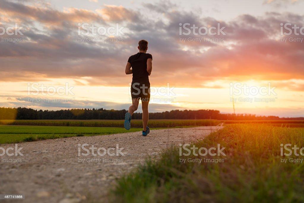 Runner in the park stock photo