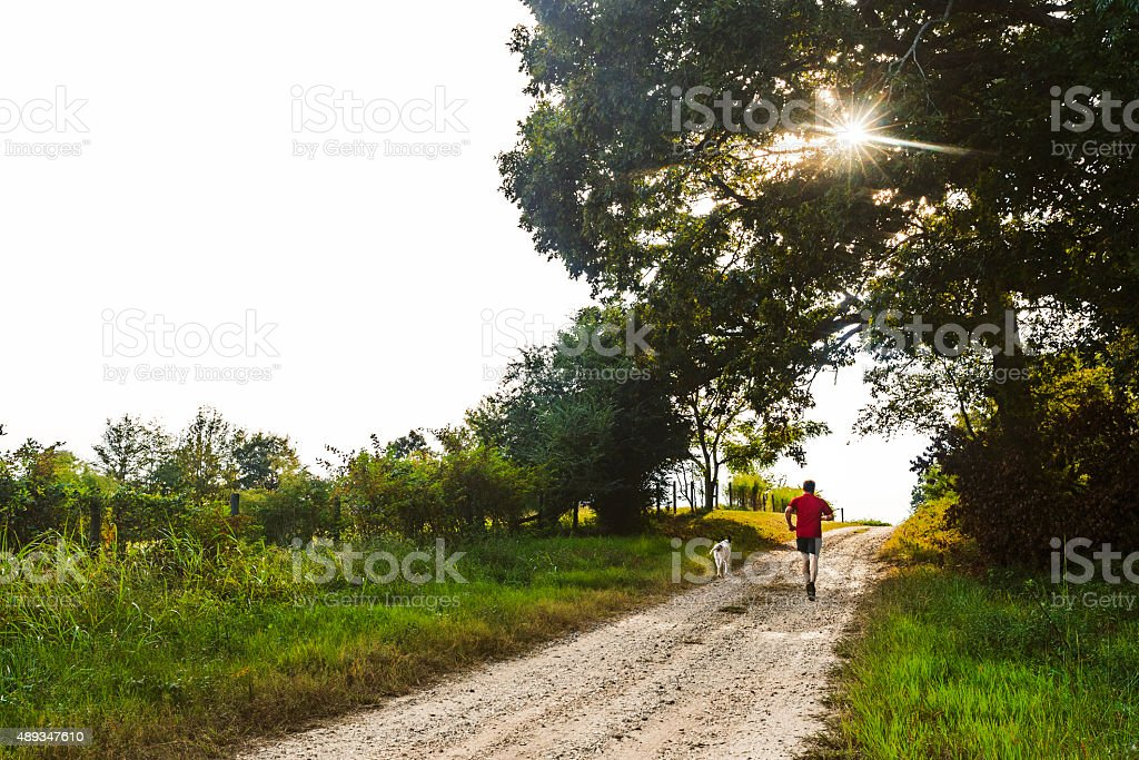 Runner on Country Road stock photo