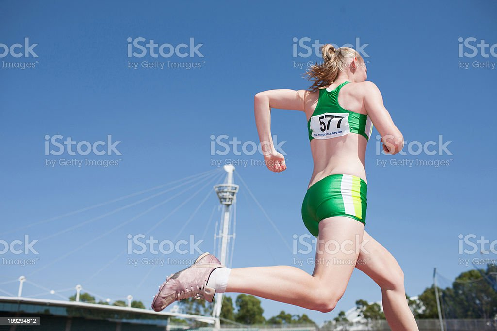 Runner on track royalty-free stock photo