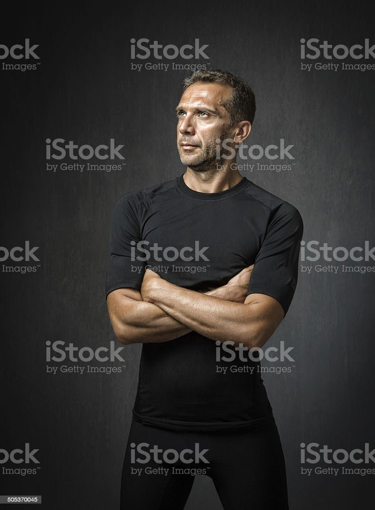 Runner portrait with dark background stock photo