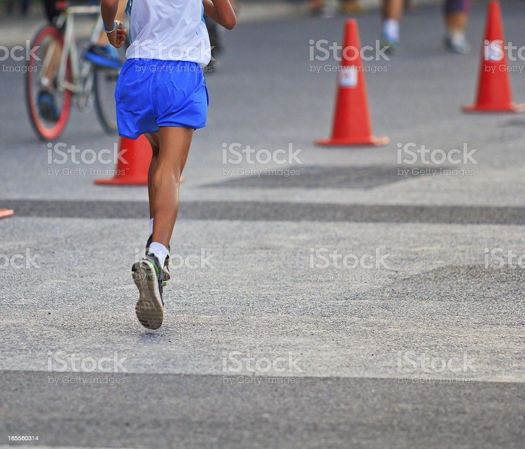Runner running and marathon royalty-free stock photo