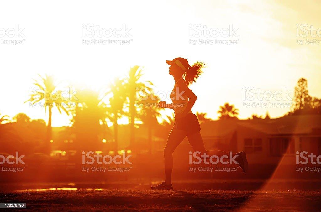 Runner silhoette sunset royalty-free stock photo
