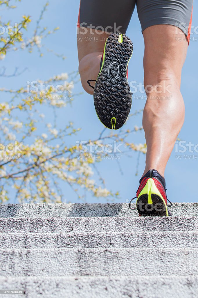 Runner stairs spring time stock photo