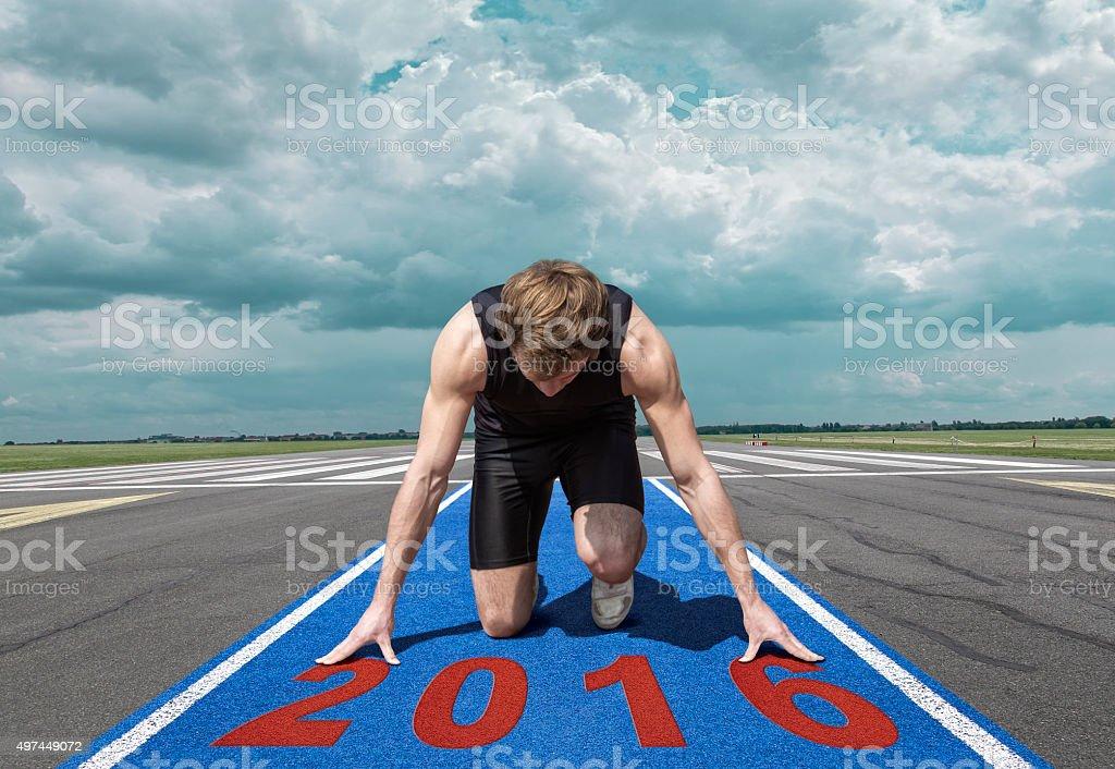Runner start position runway stock photo