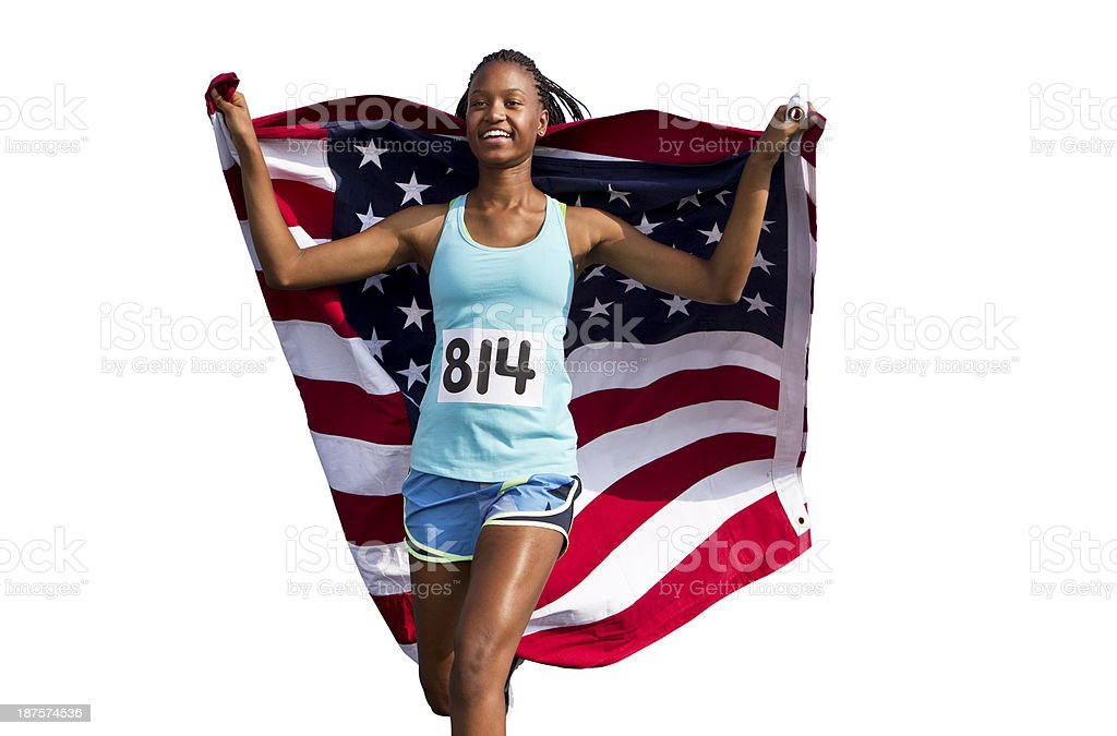 Runner with American Flag stock photo