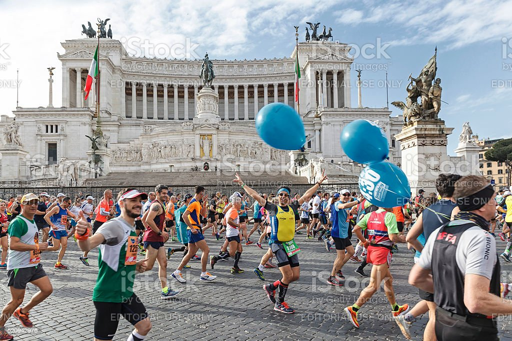 Runners at the Rome Marathon in 2016. stock photo