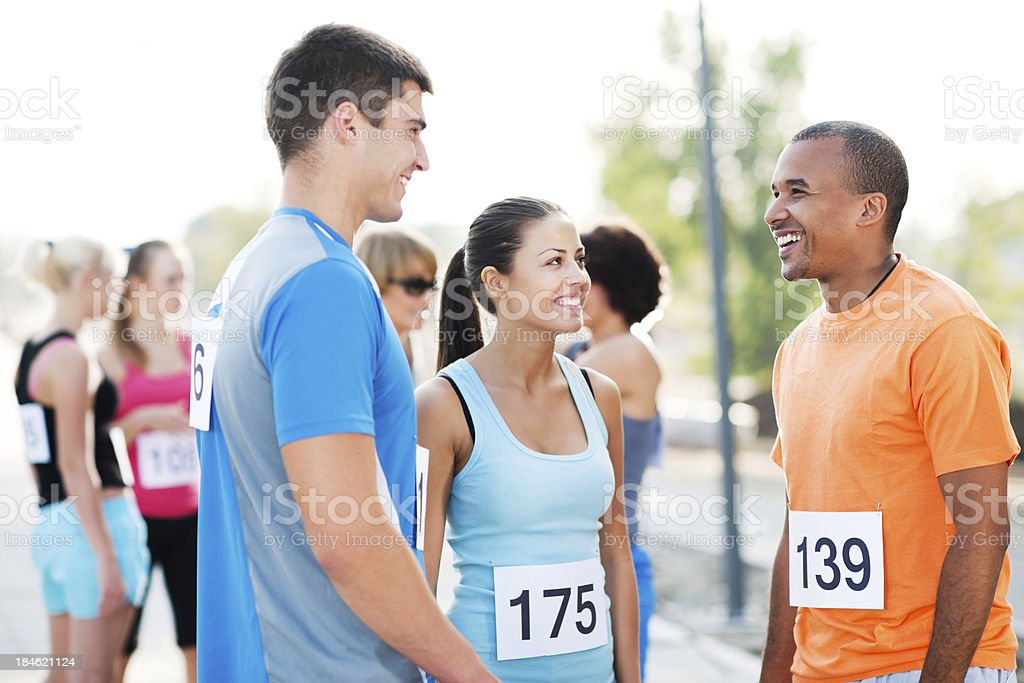 Runners communicating royalty-free stock photo