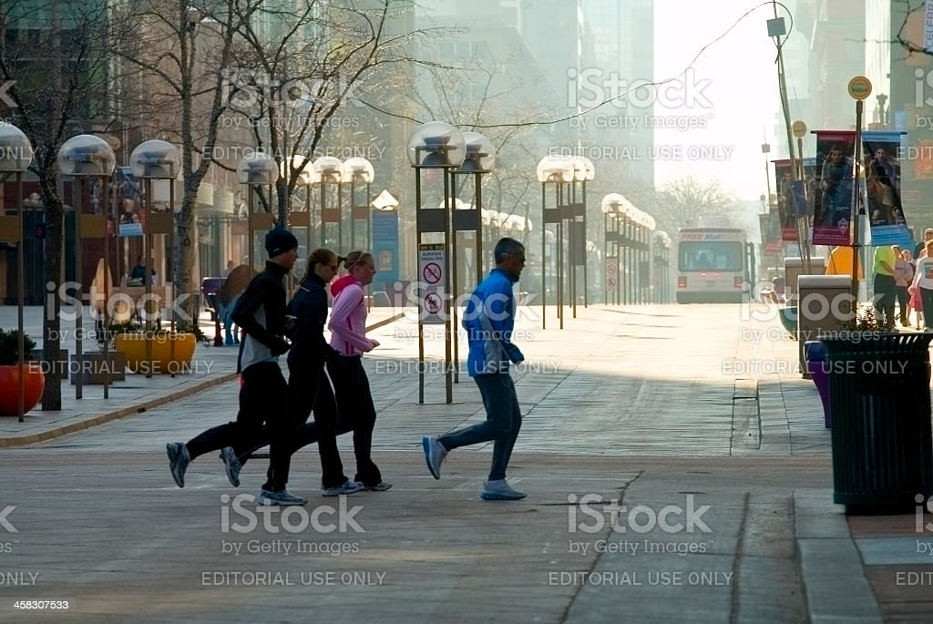 Runners in LODO stock photo
