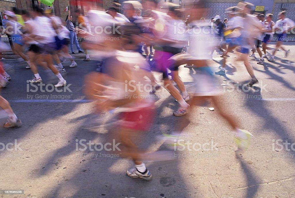 Runners In The NY City Marathon stock photo