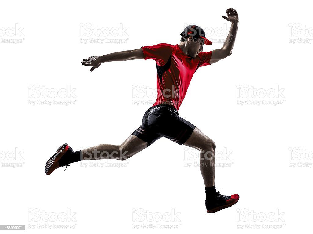 runners joggers running jogging jumping silhouettes stock photo