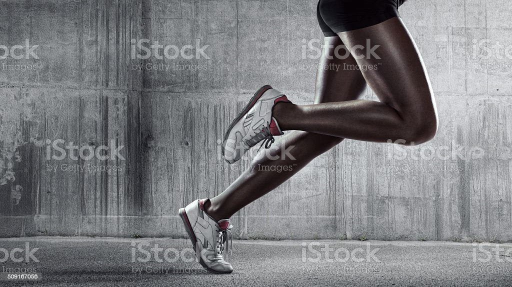 Runners legs. Side view stock photo