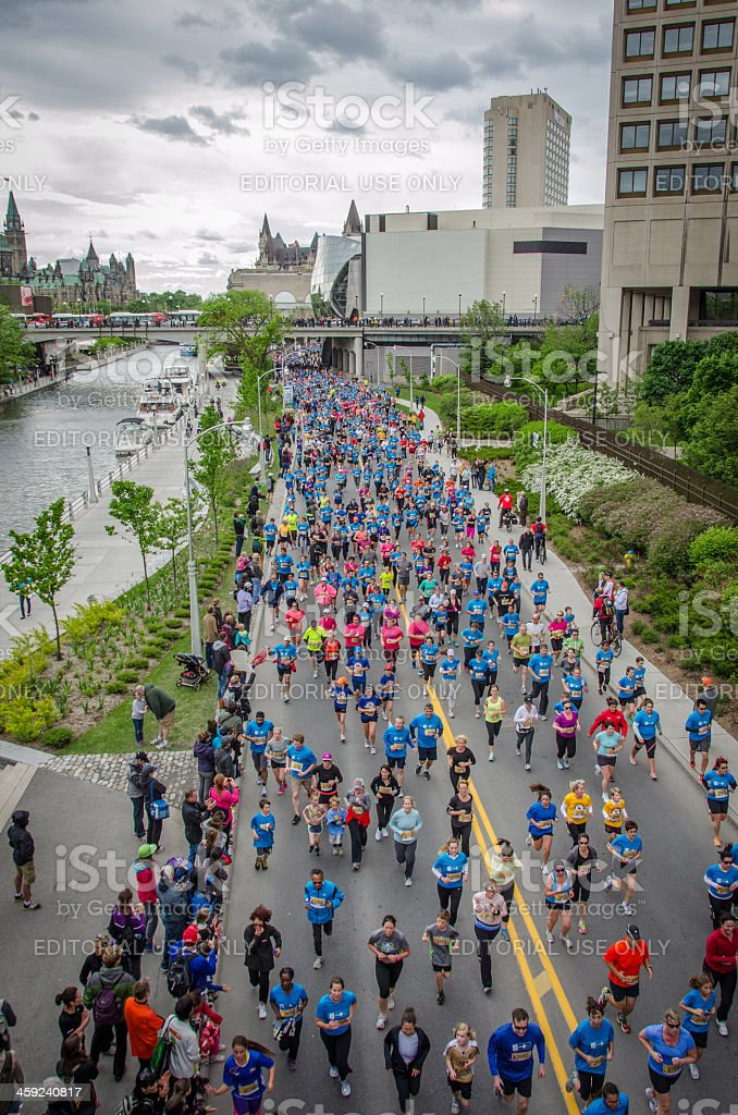 Runners on Colonel By Drive during Ottawa Race Weekend stock photo