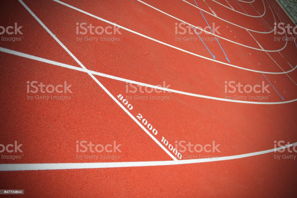 Runners track, 800, 2000 and 10000 meters distance marking stock photo