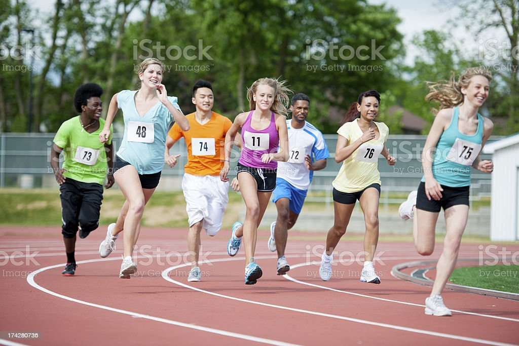 Runners training stock photo