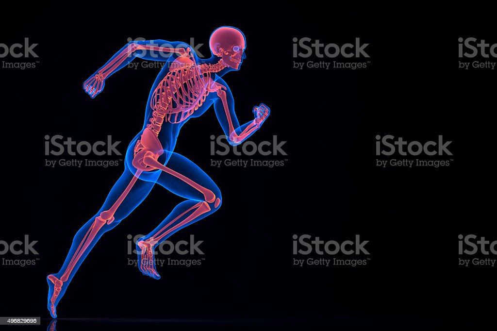 Running 3d skeleton. Contains clipping path stock photo