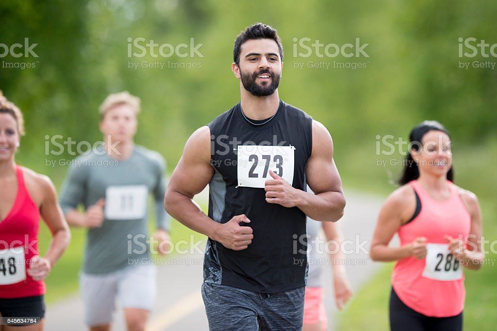 Running a 5K stock photo
