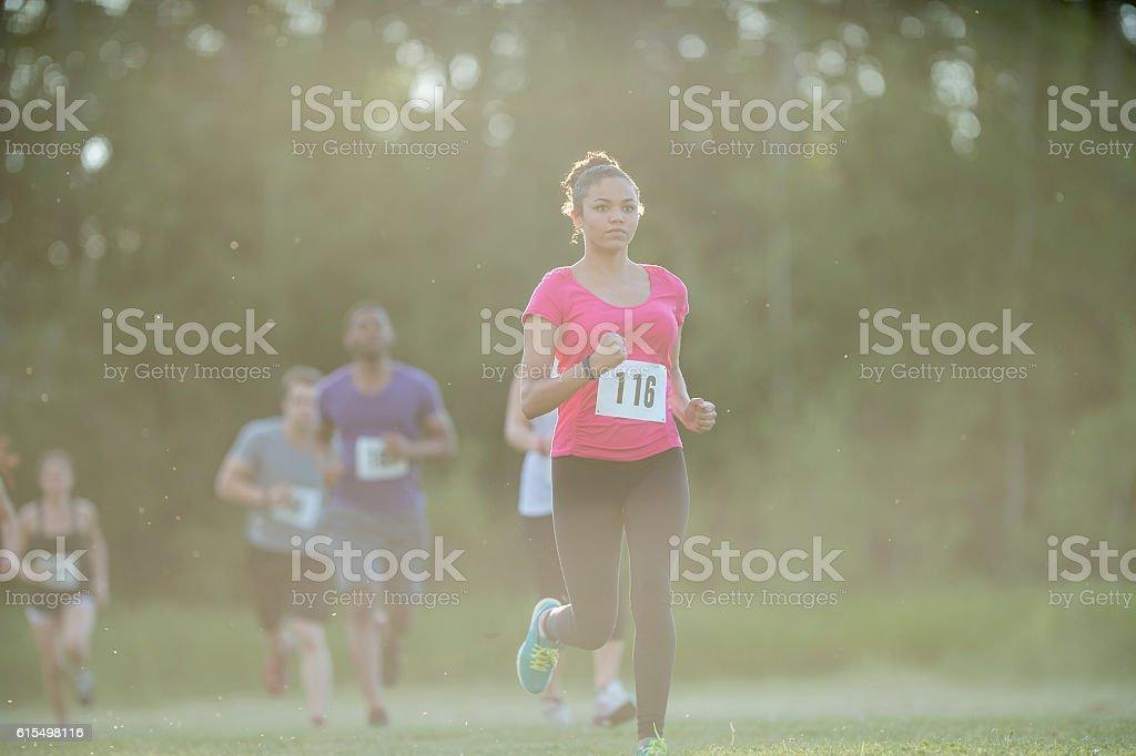 Running a 5K stock photo