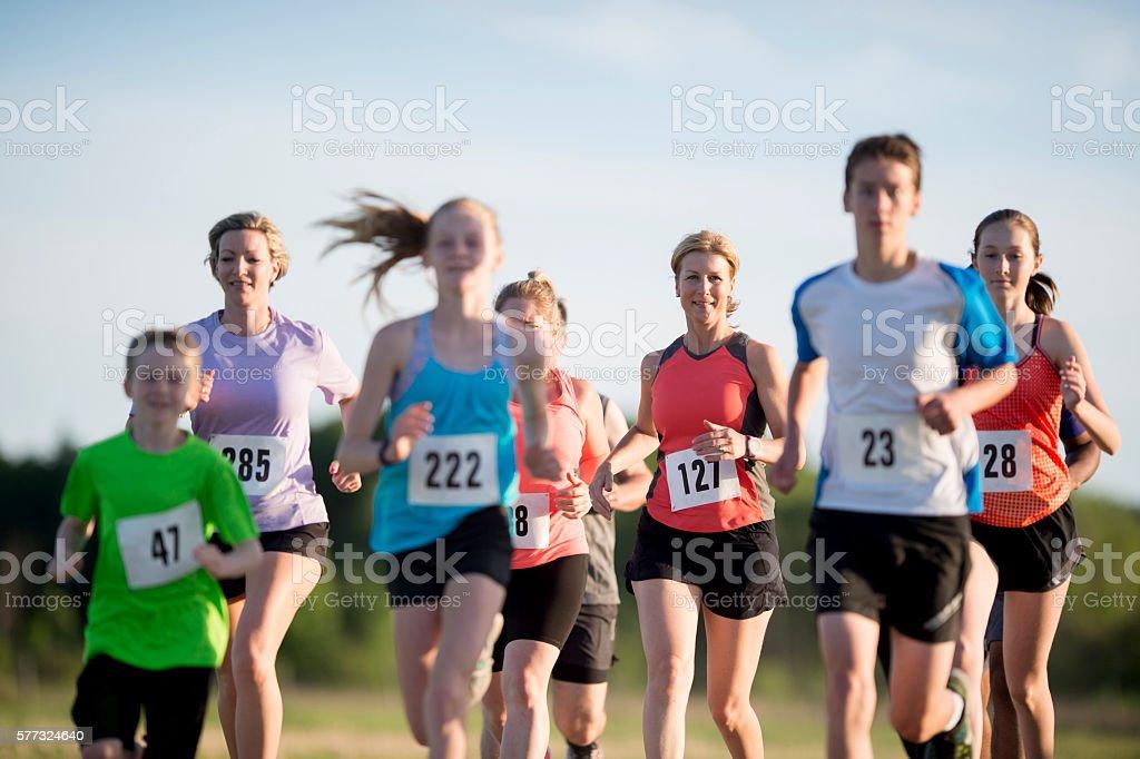 Running a 5K Race stock photo