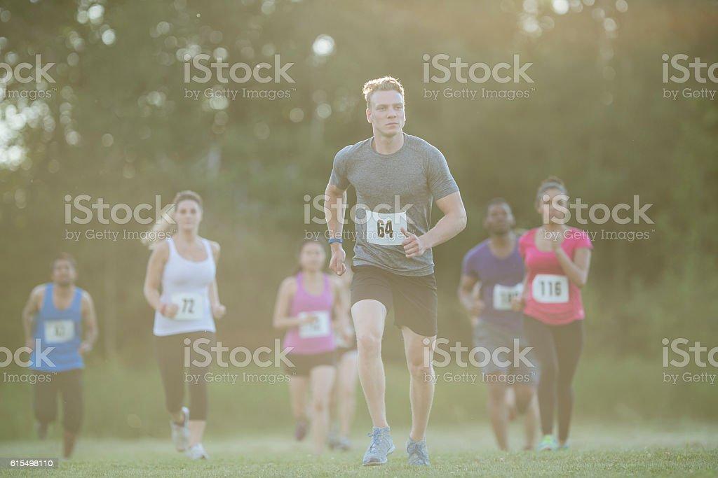 Running a Long Distance Marathon stock photo