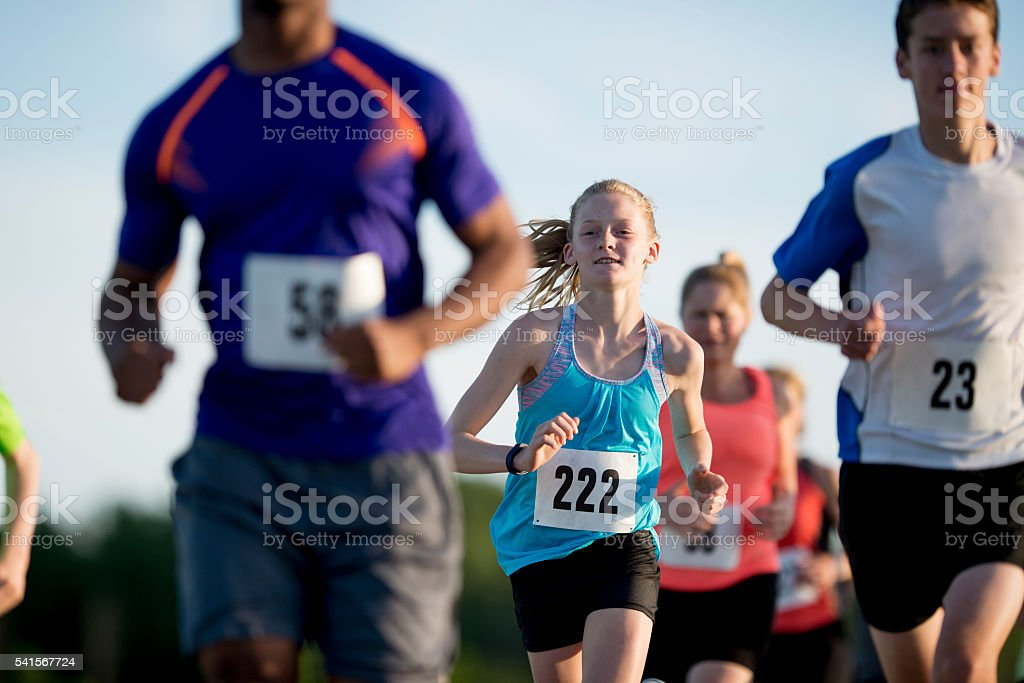 Running a Race Outside on a Sunny Day stock photo