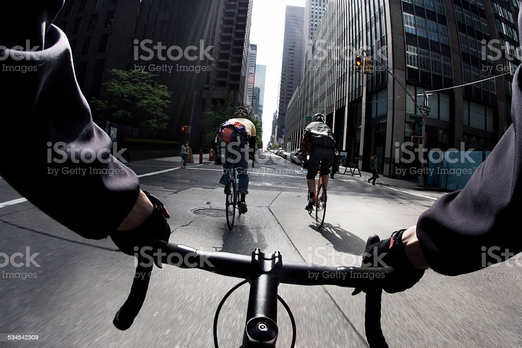 Running a Yellow Light in NYC stock photo
