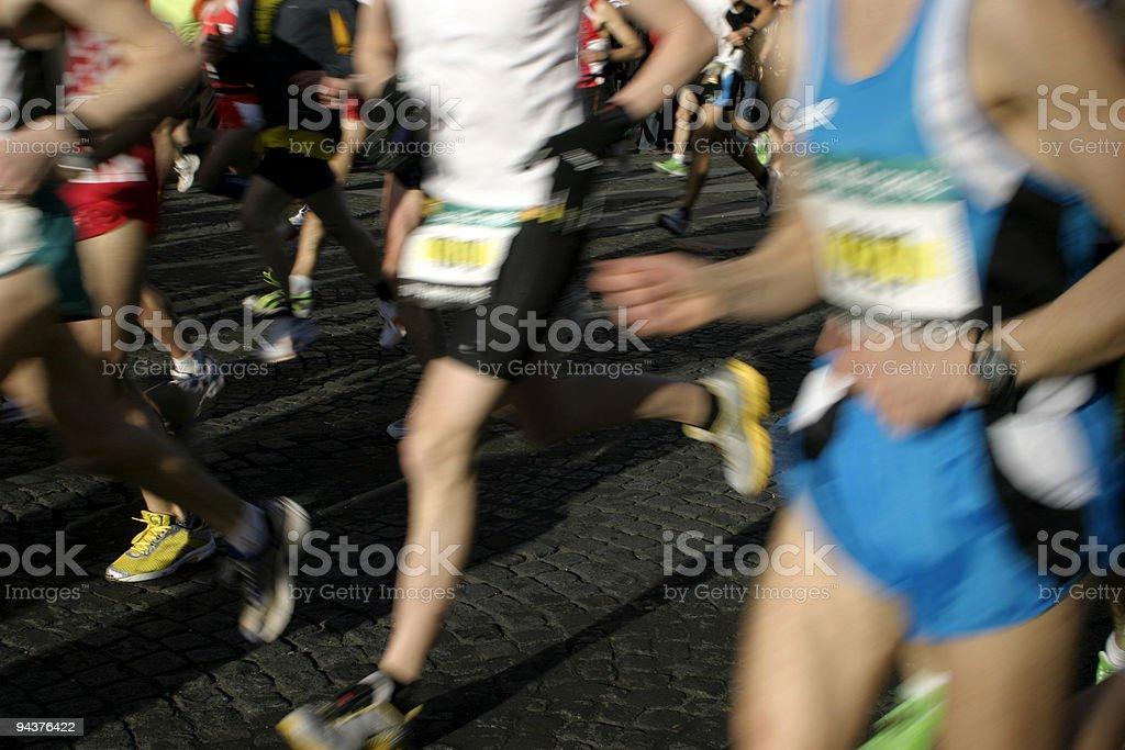 Running at Paris Marathon royalty-free stock photo