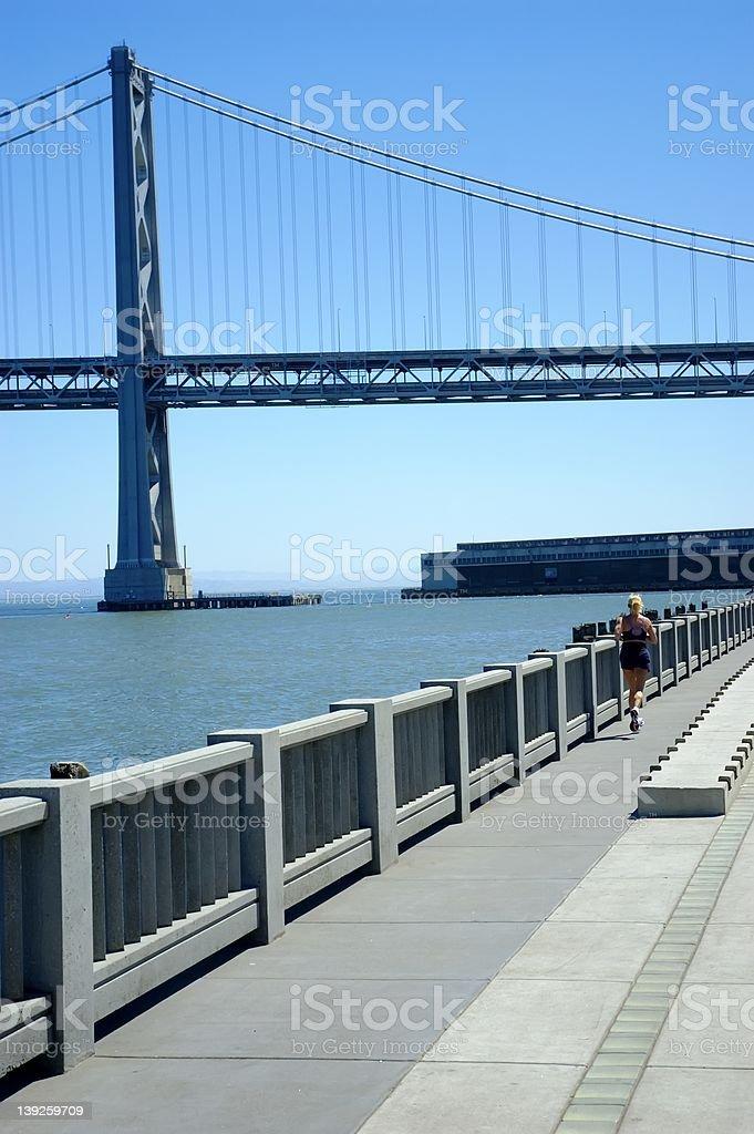 Running at the Embarcadero I stock photo